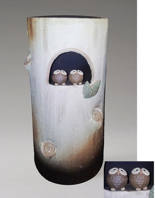傘立て 陶器 信楽焼 白釉古株ペアふくろう 傘立かわいい