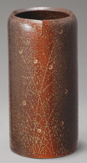 傘立て 陶器 信楽焼 草花紋 傘立 スリム