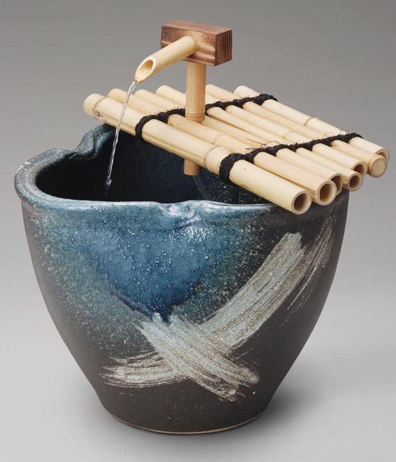 刷毛目水流つくばい信楽焼 陶器 置物 つくばい彩り屋