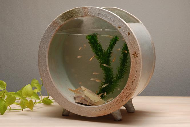 白金彩丸水槽 (大) 信楽焼 金魚鉢 水槽 陶器 置物 めだか鉢 水鉢彩り屋スーパーセール 10%OFF