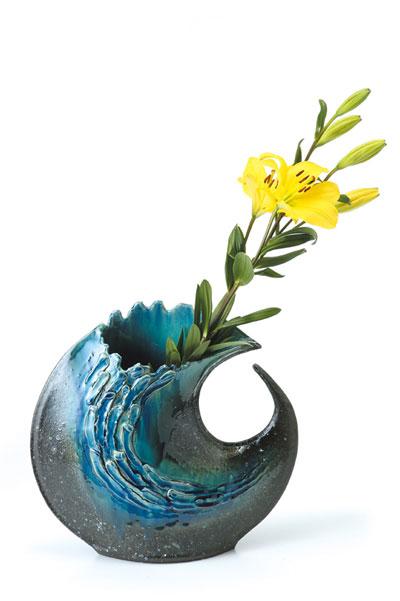 清流変形 花器 信楽焼 陶器 花入れ 花器 花入 花瓶彩り屋