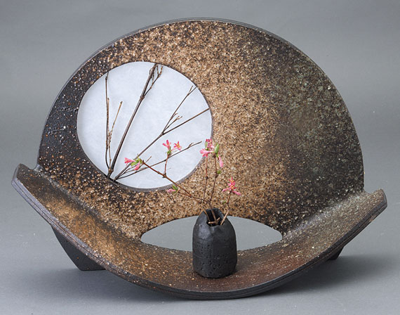 扇型花器 信楽焼 陶器 花入れ 花器 花入 花瓶彩り屋