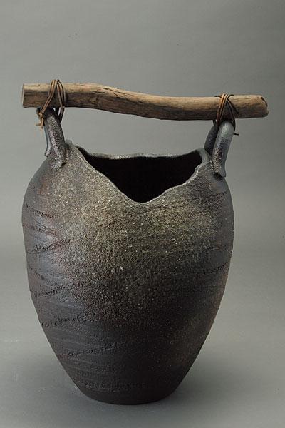 傘立て 陶器 信楽焼 壺型流木 傘立