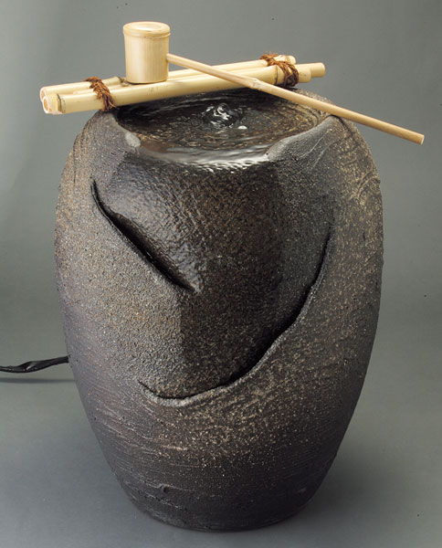 響 (竹しゃく付)信楽焼 陶器 置物 つくばい彩り屋