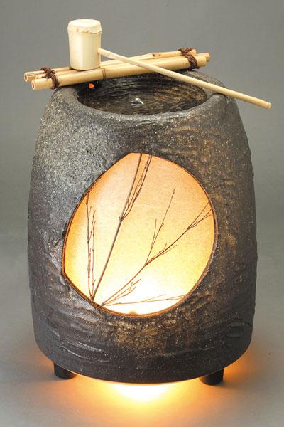 水月 (竹しゃく付)信楽焼 陶器 置物 つくばい彩り屋