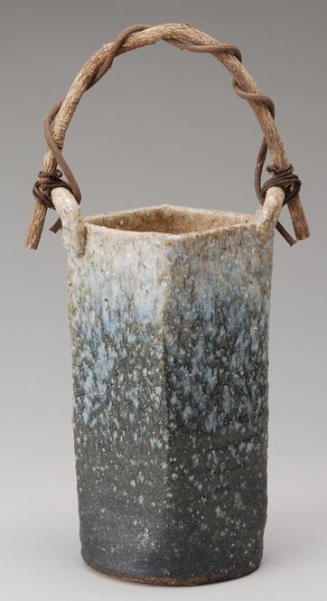 白窯変角型つる付 花入 信楽焼 陶器 花入れ 花器 花入 花瓶彩り屋