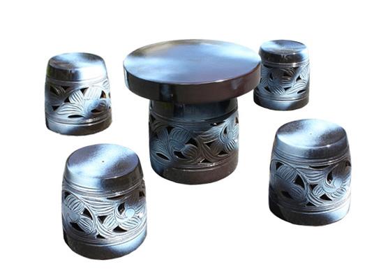 送料無料 信楽焼 ガーデンテーブル 陶器 テーブルセット 庭園テーブル 信楽焼きテーブル 信楽焼 ガーデンテーブル 20号 窯変唐草テーブルセット5点 陶器 テーブル受注生産商品1ヶ月から2ヶ月で仕上がり彩り屋