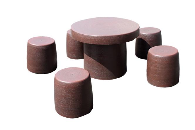 信楽焼 ガーデンテーブル 25号 鉄赤テーブルセット6点 陶器 テーブル 彩り屋