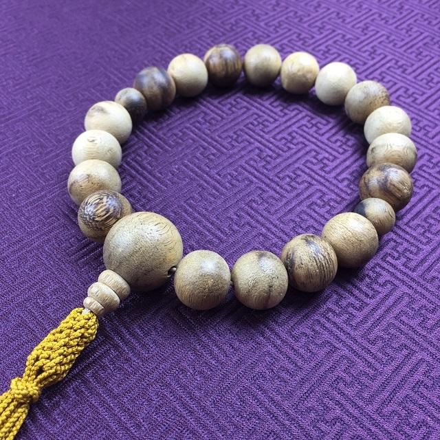 数珠 男性用 念珠 一連 稀少 沈香 共仕立 正絹紐房 金茶色 1点限定品
