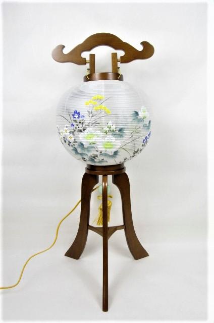 盆提灯 置き 大内行灯 木製 手描 絹 二重桂樹特九