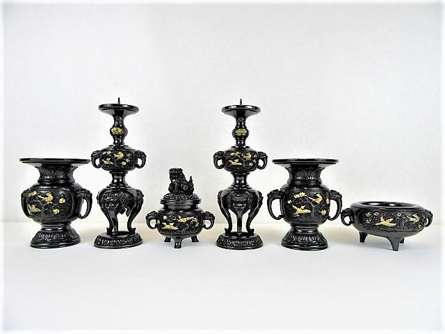 【在庫処分】特上山茶花模様型六具足 黒色 おはぐろ色 4.0寸