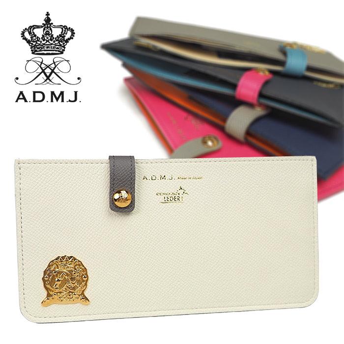 ADMJ スリムウォレット 極薄財布 長財布 子牛革 ワープロルクス レディース A.D.M.J. ACS06114
