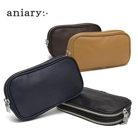アニアリ aniary シュリンクレザー ダブルジップクラッチバッグ メンズ 07-08000