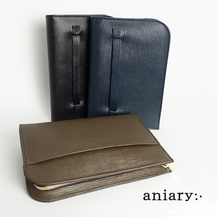 アニアリ aniary ウェーブレザー クラッチバッグ メンズ 16-08000 ブランド 本革 革