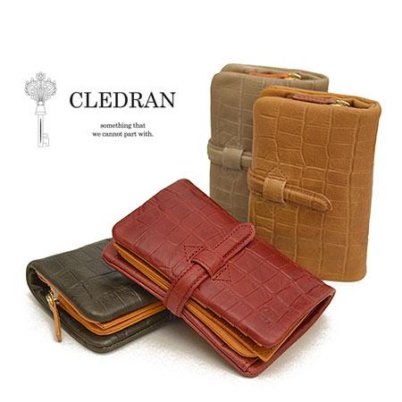 クレドラン CLEDRAN 財布 レディース 二つ折り アドレ ADORE クロコ型押し S-6218 大容量