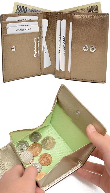 Manhattanese 牛皮列印兩個第 075-1012 折疊的錢包