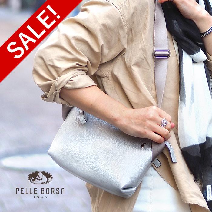 限定 40%OFF ペレボルサ セール スリング ショルダー バッグ レディース シルバー PELLE BORSA 5151