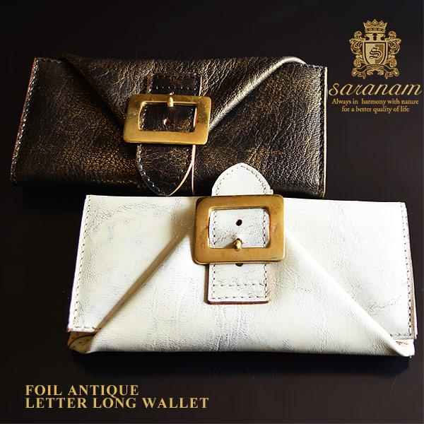 サラナン 箔アンティークレザー 牛革 長財布 レターウォレット saranam レディース TG99591