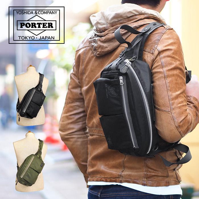 ポーター 吉田カバン フライングエース ウエストバッグ メンズ ブラック/オリーブドラブ PORTER FLYING ACE 863-16809