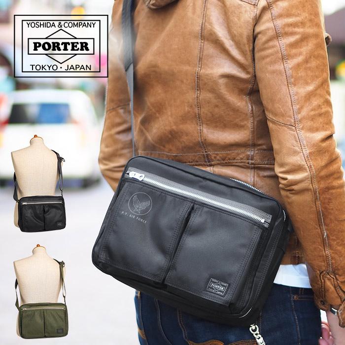ポーター 吉田カバン フライングエース ショルダーバッグ L B5 メンズ ブラック/オリーブドラブ PORTER FLYING ACE 863-17041