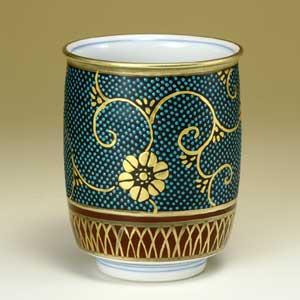 【九谷焼】湯呑み 手打青粒 北村利夫作 湯呑 湯のみ 湯呑み 湯飲み 茶碗 茶椀 カップ 和食器