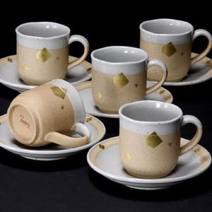 九谷焼 5客コーヒーカップ 金箔ちらし