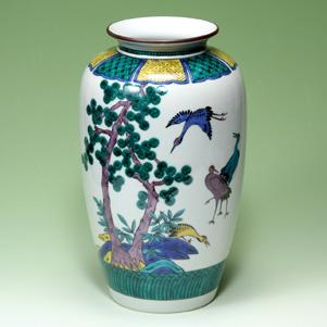 九谷焼 10号花瓶 古九谷松鶴 仏壇用花瓶
