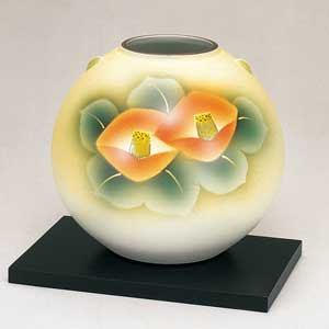 木台付7号花瓶 金彩椿 九谷焼フラワーベース
