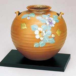 木台付7号花瓶 パステル椿 九谷焼フラワーベース