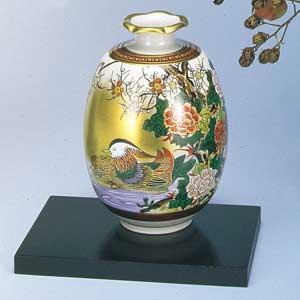 木台付5.5号花瓶 本金おし鳥 九谷焼フラワーベース