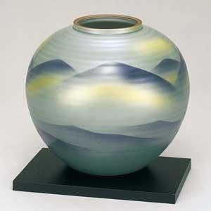 木台付8号花瓶 銀連山 九谷焼フラワーベース
