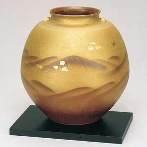 木台付8号花瓶 金箔静山九谷焼フラワーベース