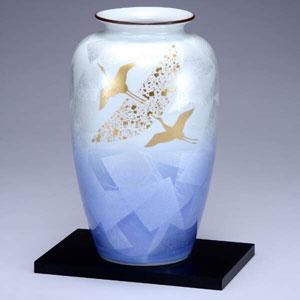 【ランキング1位】 木台付10号花瓶 銀彩鶴 九谷焼フラワーベース