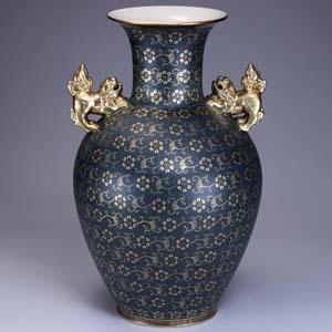 18号花瓶 青粒 九谷焼フラワーベース【振・代】