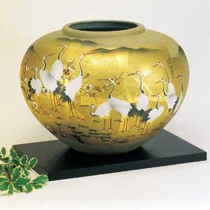 木台付10号花瓶 金箔花鶏 九谷焼フラワーベース
