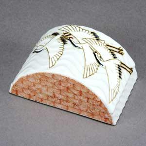 九谷焼 香炉 香合 小紋白鶴 アロマ お香 香木