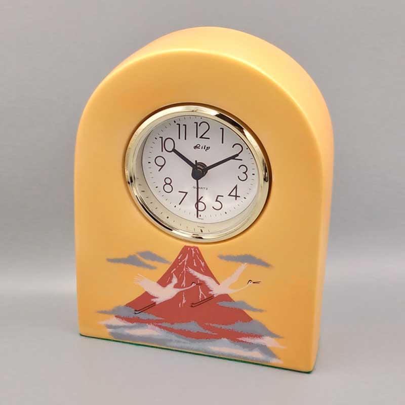 陶時計 赤富士に鶴 【ゴールドクタニ】 九谷焼 時計 和食器 人気 ギフト 贈り物 結婚祝い 内祝い お祝い