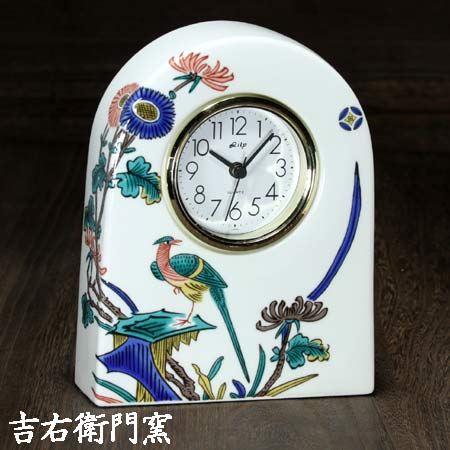 クロック clock 卓上 乾電池 置時計 置き時計 かわいい 買物 おしゃれ 記念 結婚 定年 時計 喜寿 還暦 古九谷花鳥 九谷焼 金婚 傘寿 L 米寿 退職 驚きの値段
