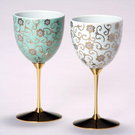 ペアワインカップ 五彩唐草 緑白彩 九谷焼 ワイングラス