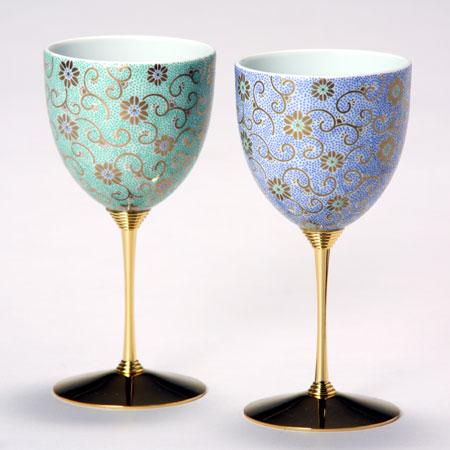 ペアワインカップ 五彩唐草 緑青彩 九谷焼 ワイングラス