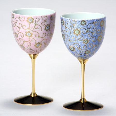 九谷焼 ペアワインカップ 五彩唐草 桃青彩 九谷焼 ワイングラス