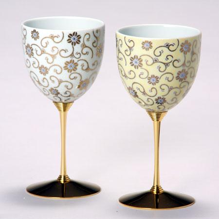 ペアワインカップ 五彩唐草 白黄彩 九谷焼 ワイングラス