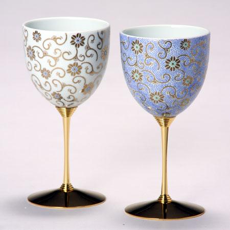 ペアワインカップ 五彩唐草 白青彩 九谷焼 ワイングラス