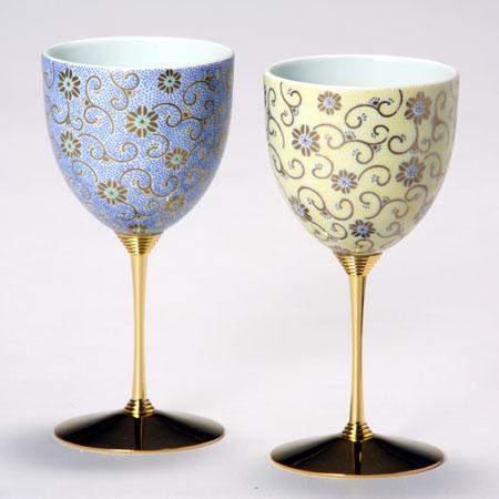 九谷焼 ペアワインカップ 五彩唐草 黄青彩 九谷焼 ワイングラス