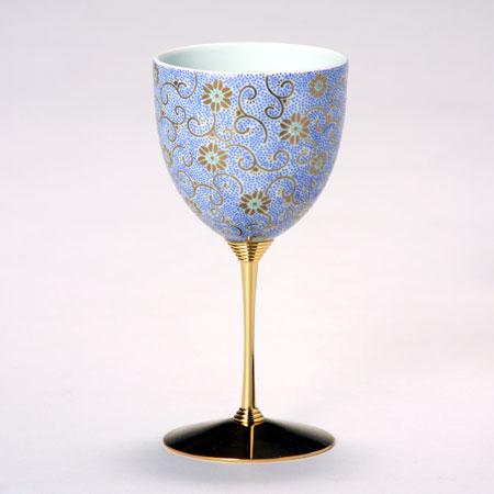 ワインカップ 五彩唐草 青彩 九谷焼 ワイングラス