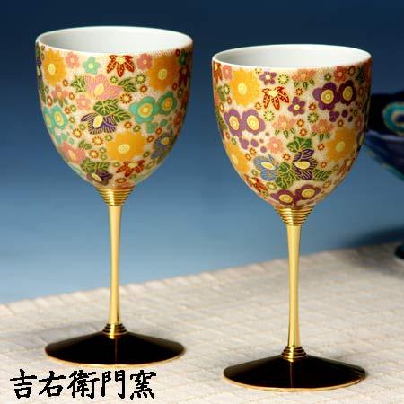 ペアワインカップ 極上花詰グリーン・パープル 九谷焼 ワイングラス