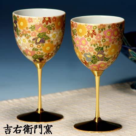 ペアワインカップ 極上花詰ホワイト・ピンク 九谷焼 ワイングラス