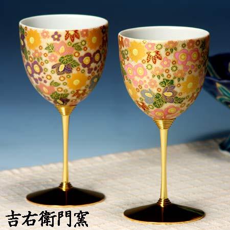 ペアワインカップ 極上花詰パープル・ピンク 九谷焼 ワイングラス