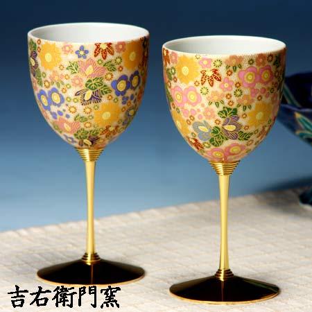 ペアワインカップ 極上花詰ブルー・ピンク 九谷焼 ワイングラス
