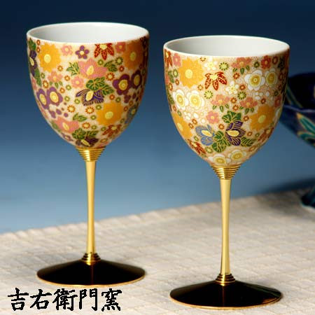 ペアワインカップ 極上花詰ホワイト・パープル 九谷焼 ワイングラス